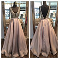 Honey Qiao Evening Dresses 2016 Blush Satin With Pockets Deep V Neck Sequined Open Back Gorgerous Sexy Cheap Long Prom Gowns