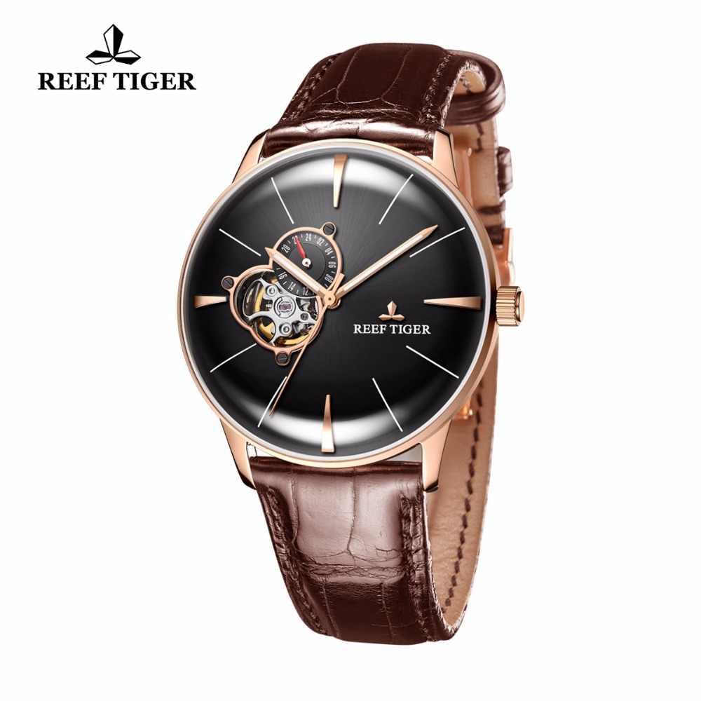 新しいリーフ虎/RT ラグジュアリーローズゴールド腕時計メンズ自動機械式時計トゥールビヨン腕時計ブラウンレザーストラップ RGA8239