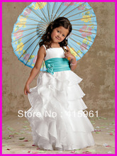 Hot Sell Princess Ruffled Organza Flower Girl Dresses Communion Dress Straps F075