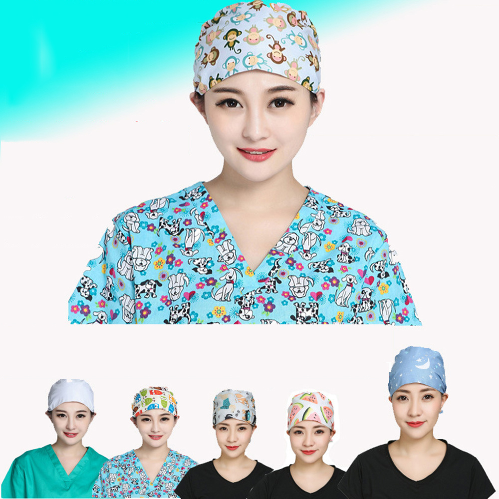 Medical Staff Nurses Printed Scrub Cap Doctor Profession Nurse Hat Hospital Detist Surgical Surger Caps Men Women Cotton Hats