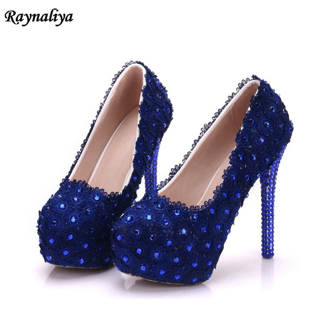 c31804dc722 Blue Pearl Wedding Shoes Lace High Heel Gorgeous Design Bridal Dress Shoes  Girl Birthday Party Prom