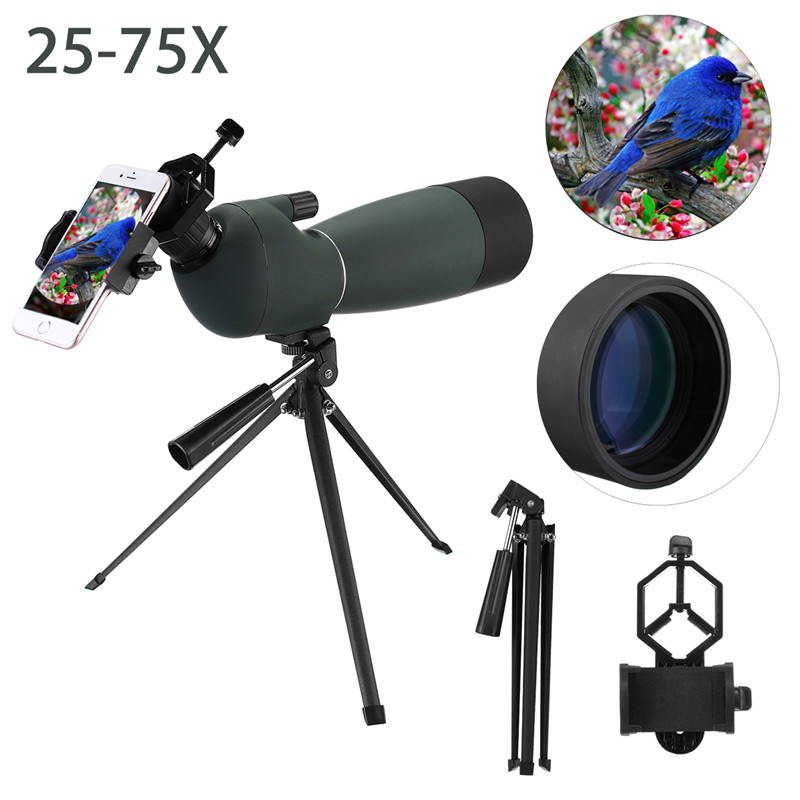 High Quality 25-75x70 Hunting Optics Waterproof Zoom Monocular Spotting Scope with Tripod Phone Holder for Bird Watching Concert high quality 1 75