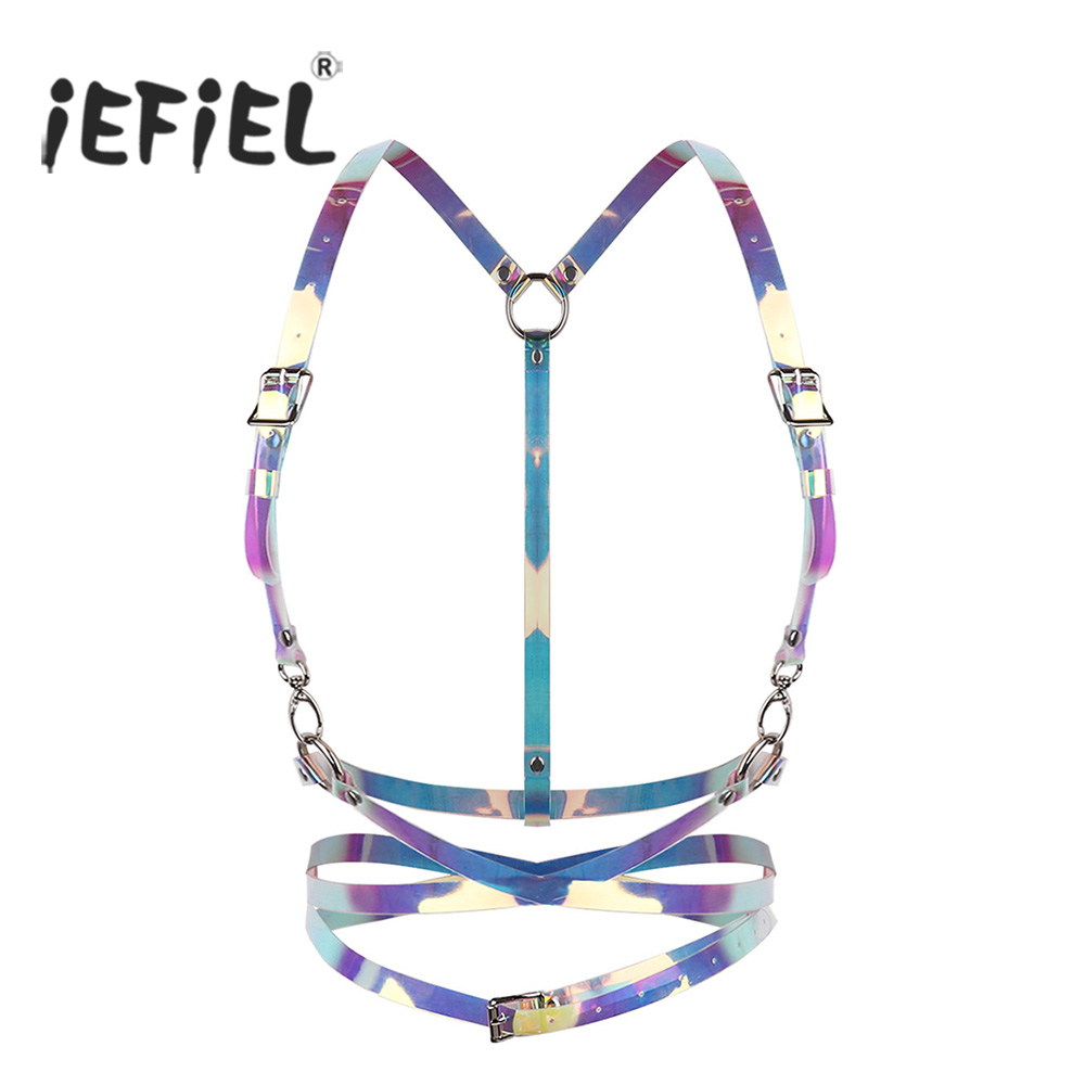 iEFiEL Fashion Men Women Cosplay Sexy Clubwear Body Chest Harness Bondage Belt with Buckles I-shaped Back Cage Waist Belt