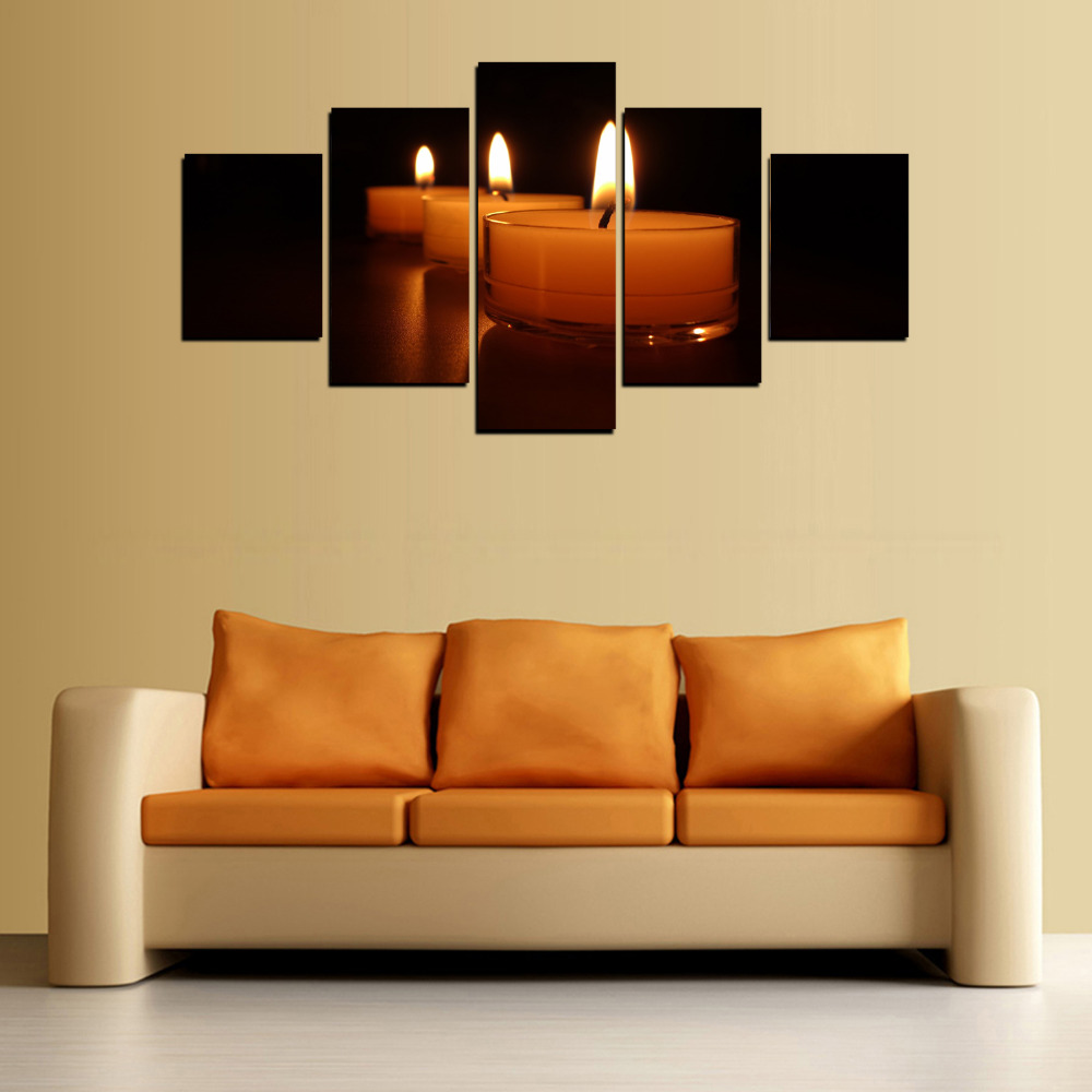 5 Panels Canvas Three Little Cup of Red Candles Painting On Canvas ...