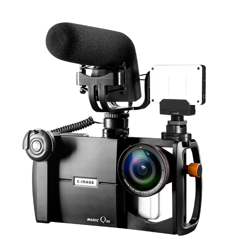 Prix pour Smartphone Caméra Rig, E-IMAGE Magique Q30 Phonegraphy Vidéo Montage Cas avec 4 K Large Ange Objectif & Macro Lentille Kit pour iPhone 7 Plus