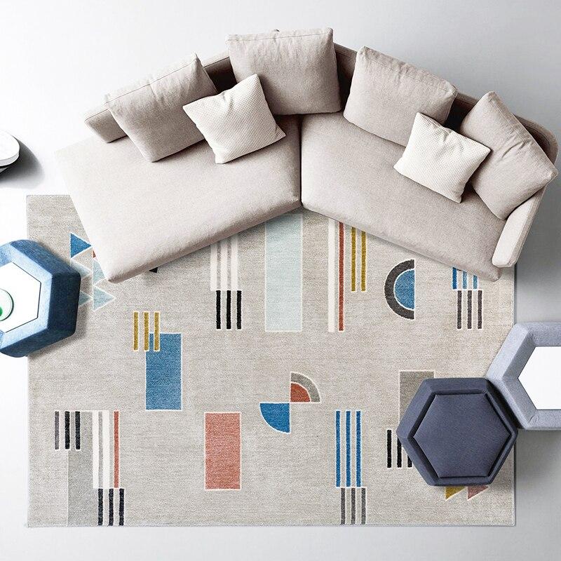 Post-moderne bureau chambre décoration tapis style nordique grande taille mosaïque plaid tapis de chevet, INS géométrique salon tapis