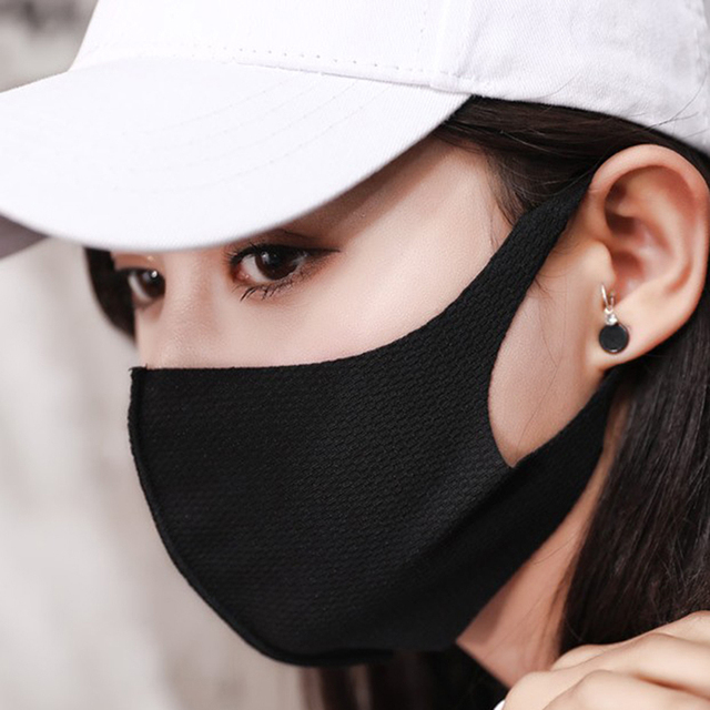 1Pcs Breathable Black Kpop Mouth Mask Unisex Sponge Face Mask Reusable Anti Pollution Face Shield Wind