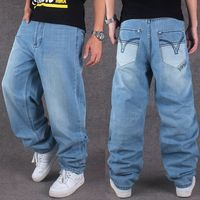 Men Wide Leg Denim Pants Hip Hop Light Blue Casual Sport Trousers Baggy Jeans For Rapper