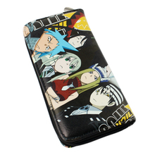 Soul Eater Black Star Maka Albarn Characters PU Leather Long Zipper Purse Card Holder Coin Pocket Clutch Wallet