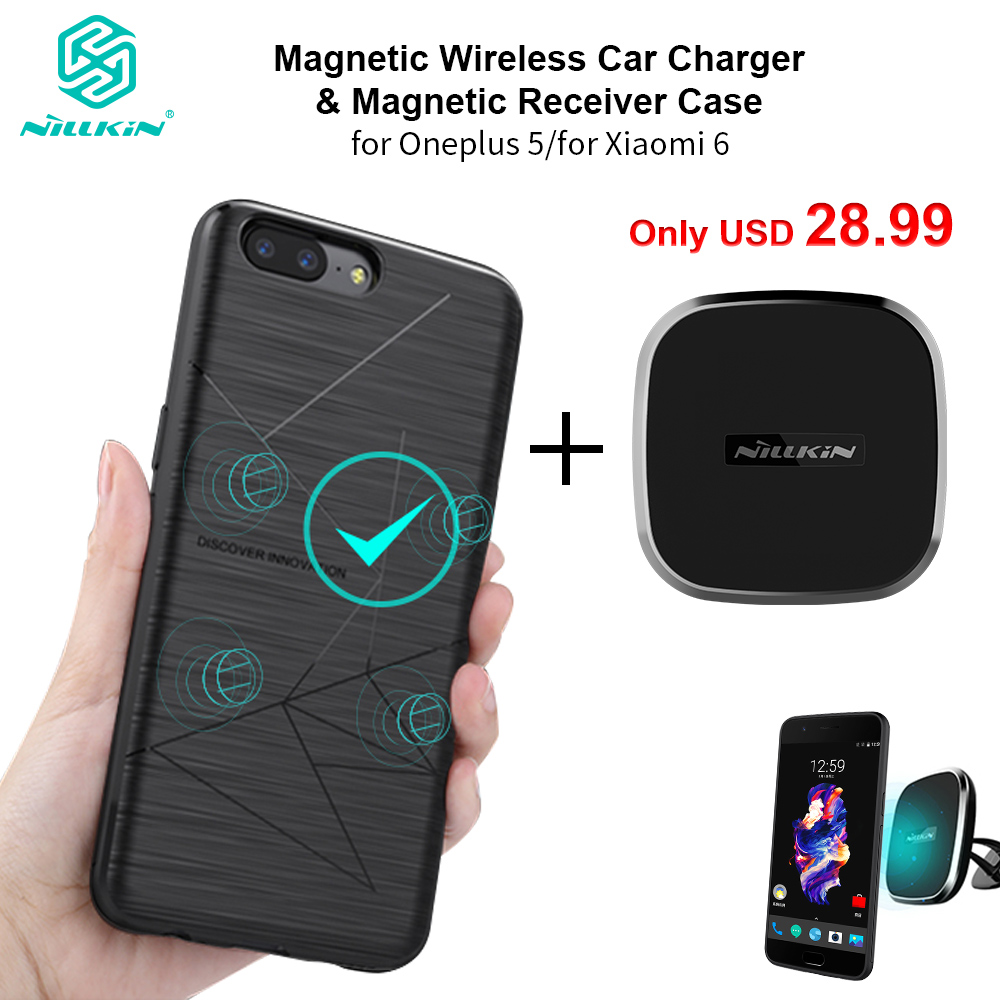 Nillkin Magnetic Wireless Car Charger Holder Airvent Mount + Magnetic Wireless Charging Receiver Case for Xiaomi 6 for OnePlus 5