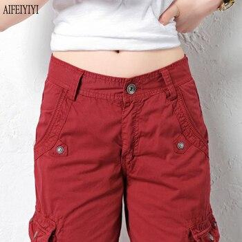 Denim Pantalon Femmes 2019 Army Green Loose Knee Length Multi-Pocket Baggy Jeans Cargo Short Pants Men/Womens Military Trousers 5
