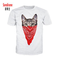 Sondirane New Fashion Women/Mens Cartoon Bandana Cat Funny 3D Print Casual T-shirt Summer Short Sleeve Tees Breathable Tops