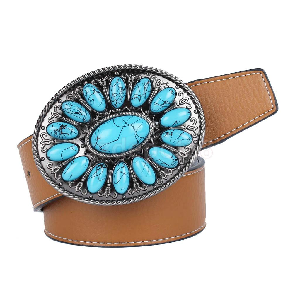 Cowboy Belt Western Leather Belt With Bohemian Faux Turquoise Belt Buckle, Black, Brown