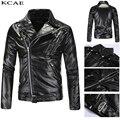 2016 осень/зима мода новый мужской отдых склонны молния кожаная куртка/мужские вниз воротник чистый цвет пу пальто