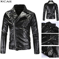 2016 autumn/winter fashion new men leisure inclined zipper leather jacket / Man's down collar pure color pu coat