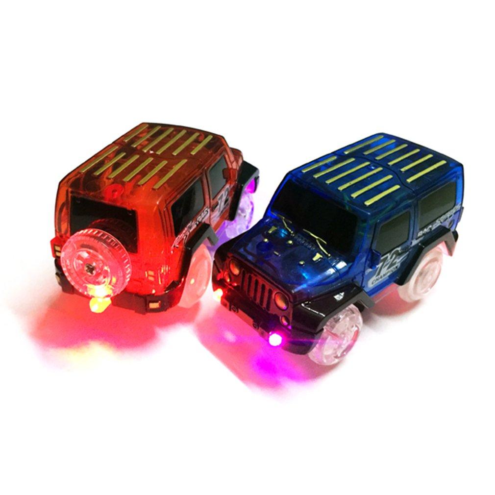 OCDAY Electronic Car Toy LED Light Up Cars For Glow Race Track Flashing Kid Railway Luminous Machine Track Car Brinquedos