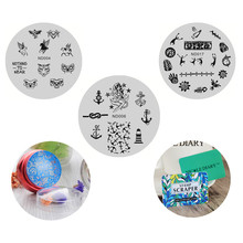 3pcs Brand Hot  Nail Art Stamping Image Plates Weird Horse Animal Anchor Patterns Stainless Steel with Stamper and 2 Scrapers