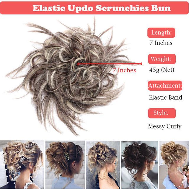 7 Inch Messy Bun Elastic Band Chignon Clips in Curly Scrunchy Short Hair Extension