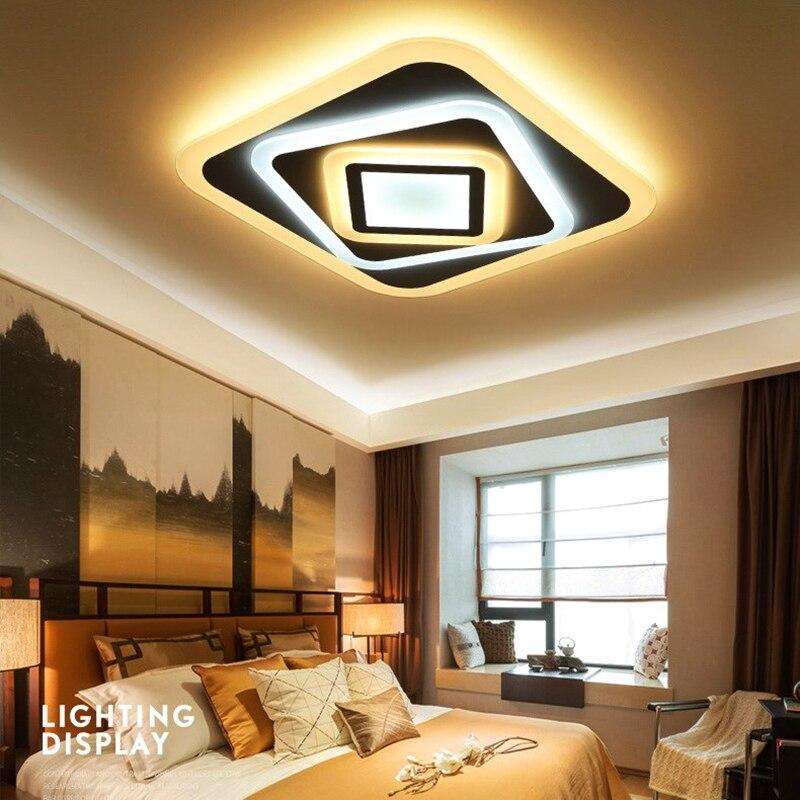 Moderne chambre plafond éclairage AC90-260V intérieur carré acrylique lampe Ultra-mince LED restaurant luminaires haut 5 cm livraison gratuite