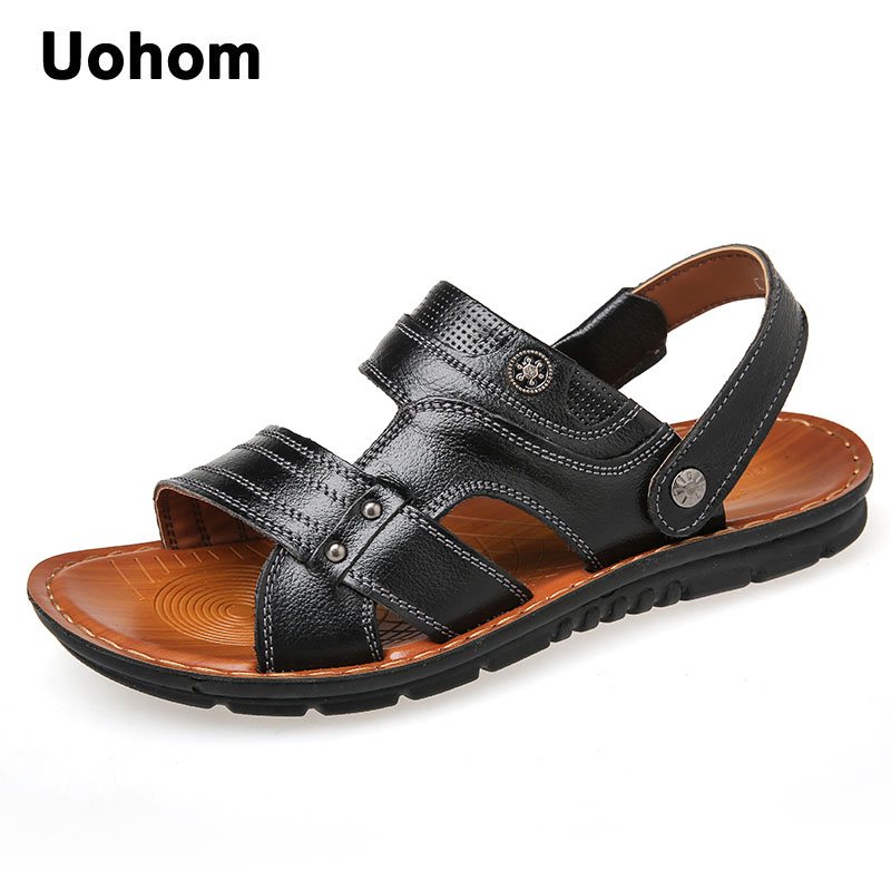 Uohom 2018 Summer New Outdoor Beach Men Sandals Genuine Leather Men Comfortable Casual Shoes Mans Non-slip Soft Flip Flops