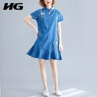 HG Summer folk custom embroidery ruffles dress jean Micro fat plus size loose Standing collar Cheongsam big size women WQR1068