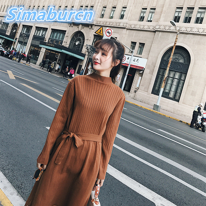 Women Long New Sweaters Dress 2018 Winter Solid Color Knitted Dresses Loose Stand Neck Dress Femme Brown Color Dress Vestidos