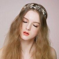 2017 New Bridal Flower Hairwear Accessory Ladies Wedding Accessories Womens Gold Floral Hair Bands Female Headbans O509