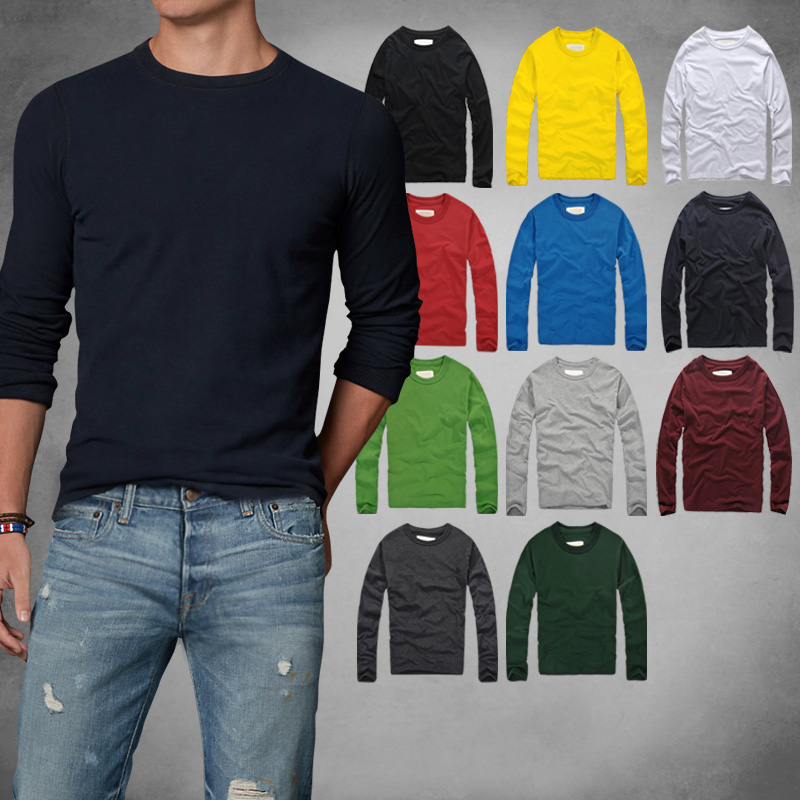 wholesale!! 100% Cotton   T  -   Shirt   Men Solid Thick   T     shirts   2017 Fashion Fitness Full Long Sleeve Tshirts Homme Tops&Tees clothes