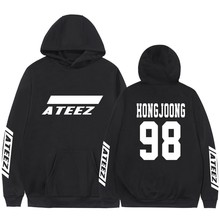 Kpop Ateez Sweatshirts Fake Two Pieces Hoodies Fashion Printed Pullover