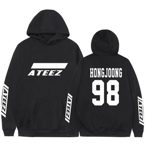 Image 1 - Kpop Ateez Sweatshirts Fake Two Pieces Hoodies Fashion Printed Pullover