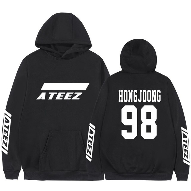 Kpop Ateez Sweatshirts Fake Two Pieces Hoodies Fashion Printed Pullover