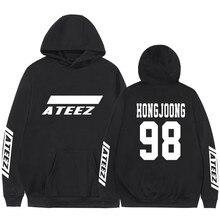 Kpop Ateez sweat shirt, faux deux pièces à capuche, pull imprimé à la mode