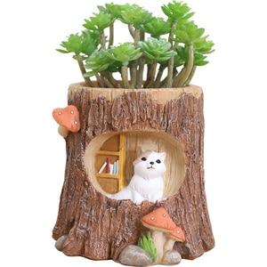 Image 5 - Roogo עץ צורת תליית עציץ מרפסת עציץ תלוי של חיות עסיסי Creative Cachepot עבור פרחים