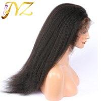 JYZ кудрявый прямой полный парик шнурка 8 28 дюймов предварительно сорвал с волосами младенца бразильские человеческие волосы для черных женщ