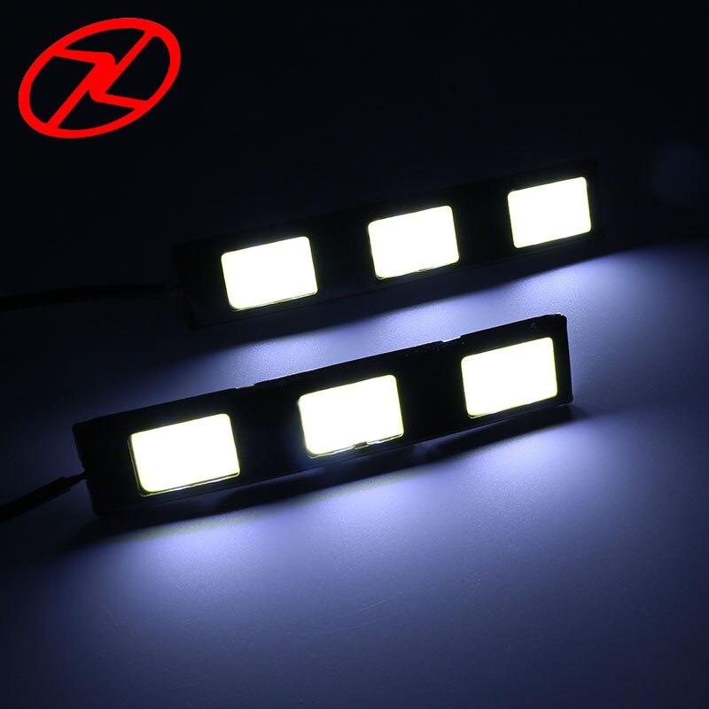 2 шт. Водонепроницаемый Универсальный 3 COB Дневной Бег с подсветкой DRL 12 В 6000 К вождение автомобиля свет дневной свет ...