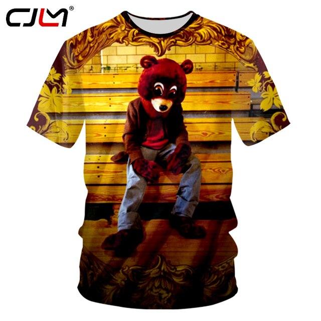 e3f4ad49c9b2d CJLM 2018 Summer Tops Kanye West Tshirt Cool Print Dropout Bear Album Cover  Pattern 3d T-shirt Man Hiphop Punk Casual T shirt