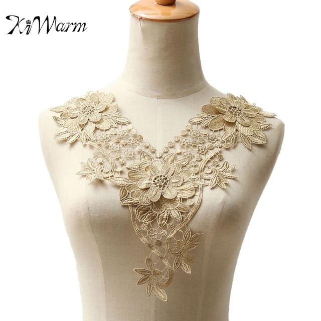 3D Fabric Flowers Floral Guipure Lace Collar Neckline Applique Lace Trim  Patch Embroidery Sewing Craft Applique 1a571fd13e43