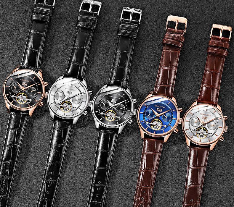 Reloj Mecánico Tourbillon Esqueleto para Hombre, Reloj de pulsera mecánico clásico de cuero rosa dorado, Reloj de pulsera para Hombre 2018 de lujo