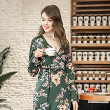 BYSIFA Women Silk Robe Spring Autumn Design Femme Birde Long Chinese Silk  Robe Bathrobe Elegant Dark green And Red Robes Printed 2d389c402