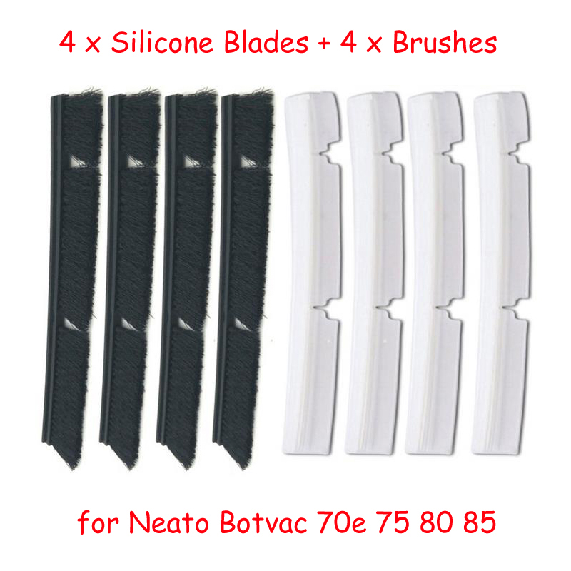 4 Silicone Blades 4 Brushes Replacement for Neato Botvac 70e 75 80 85 all D Series Connected Vacuum Cleaner Parts accessories in Vacuum Cleaner Parts from Home Appliances