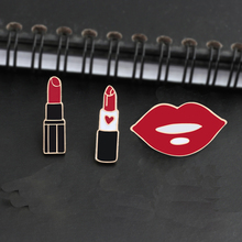 3pce/set Fashion Charm Lipstick Enamel Pins Beautiful Lips Brooch Jackets Accessories Badge Girl Jewelry Brooches For Women Gift