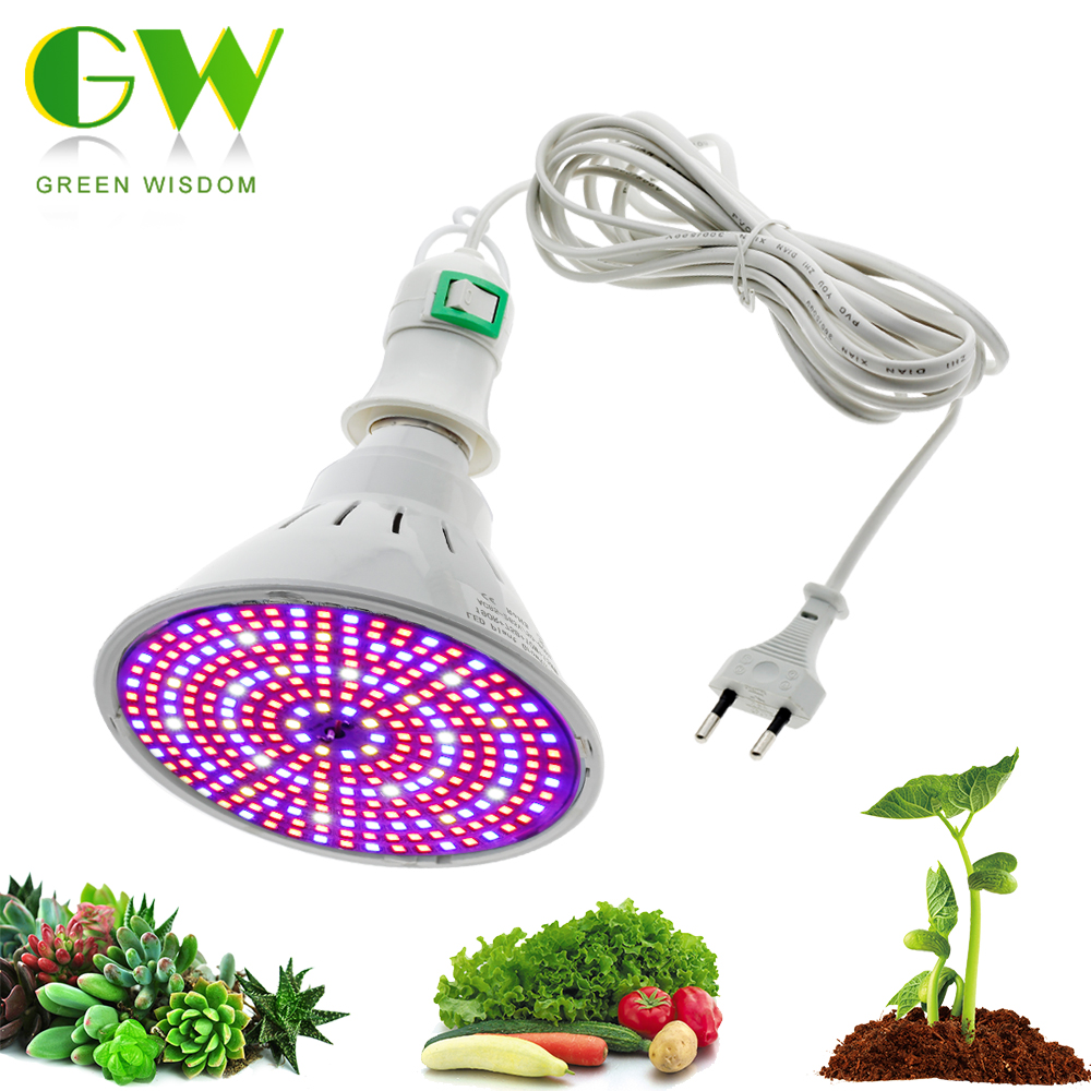 220V Phytolamp E27 LED Bulbs For Plant Growth Full Spectrum Grow Bulb With 4M 8M Wire Switch EU Plug For Indoor Flower Seedlings