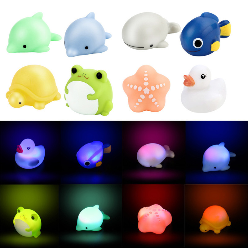Rubber Baby Bath Flashing Light Toy Auto Color Changing Baby Bathroom Toys Multi Color LED Lamp Bath Toys For Children, Xm40