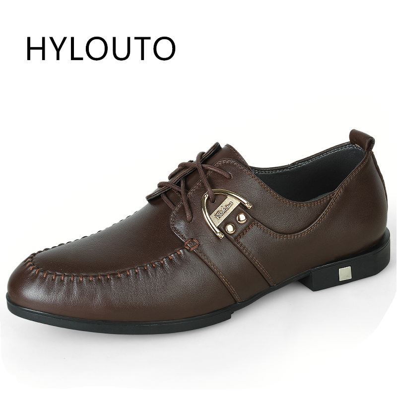 ФОТО Hot Sale Men's Shoes Classic Genuine Leather Flats Male Dress Shoes Luxury Brand Business Men Oxford Shoes for Wedding
