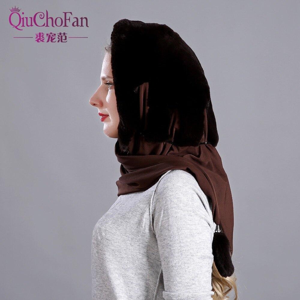 Naturel réel lapin fourrure chapeau écharpe élégant chaud hiver chapeaux pour femmes classique russe Style qualité fourrure femme bonnets - 5