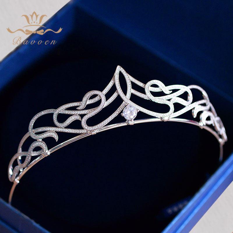 Bavoen Luxurious Sparkling Zircon Brides Tiaras Crowns Crystal Bridal Hairbands Wedding Hair Accessories Evening Headwear Gifts