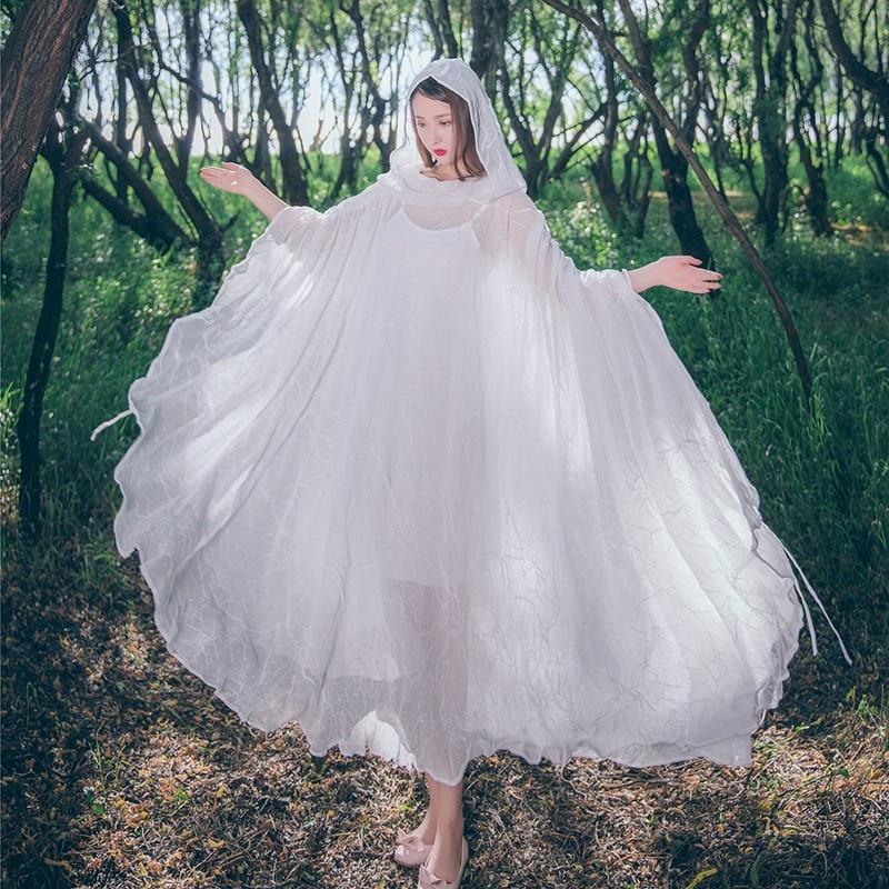 2019 Donne Eleganti Di Cotone Tunica Di Modo Di Estate Di Long Beach Del Vestito Sexy Della Rappezzatura Con Cappuccio Anteriore Bianco Robe Dress Parei