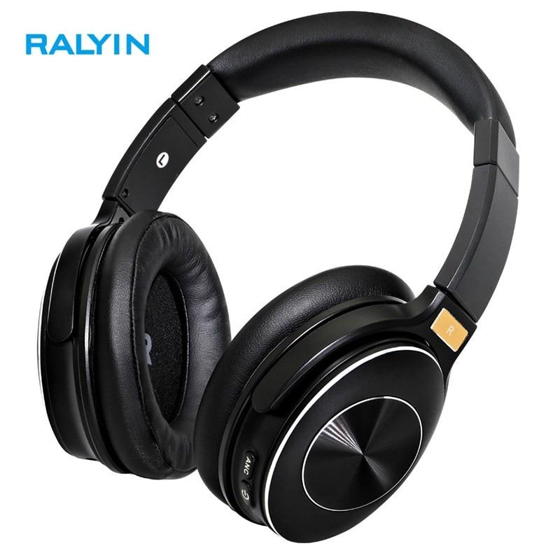 RALYIN M6 Bluetooth 5.0 ヘッドマウントヘッドフォン Hifi サウンドアクティブノイズリダクション 50 時間プレイタイムスポーツヘッドセットとマイク -