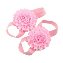 Baby Girl Ribbon Flowers Barefoot Sandals Shoes (Pink)(China)