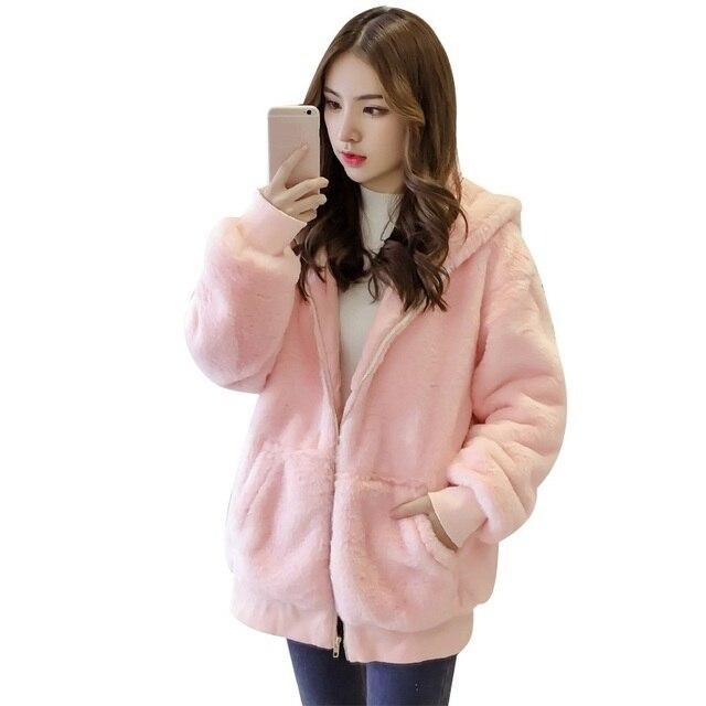Sıcak Kış Rüzgar Geçirmez Peluş Ceket Dış Giyim Kadın Kız Tavşan Saç Cep Şapka Sonbahar Ceket Zippoer Streetwear Kadife Mont